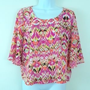 TAKARA L COLORFUL 3/4 FLARE SLEEVE TOP